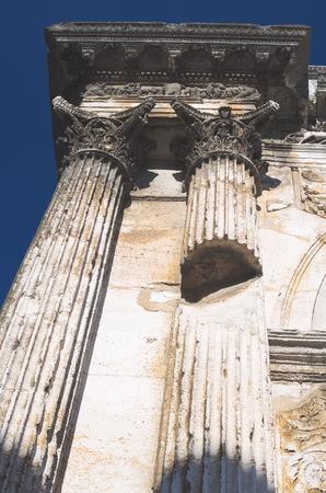 roman pillar: Ancient Roman White Ornate Pillar Architecture Closeup Stock Photo