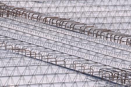 strenghten: Concrete Reinforcement Detail on a Construction Area Stock Photo
