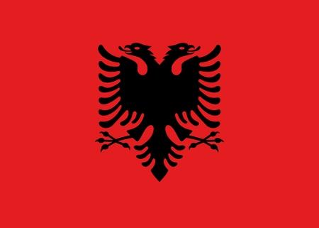 animal silhouette: Official Large Flat Flag of Albania Horizontal
