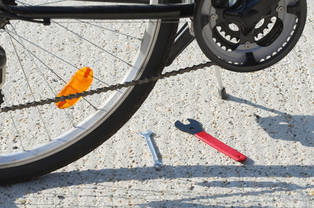 Black Bicycle Closeup with Cone Spanner Wrench Tools
