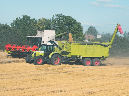 Combine Harvester Unloading Grain into Tractor Trailer on a Sunny Summer Day