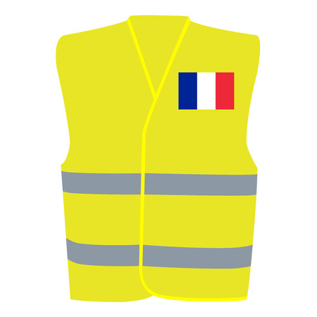 Safety Yellow Vest with Flag of France Isolated on White Illustration