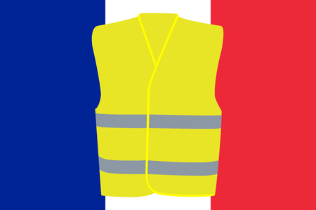 Flag of France with Yellow Vest Unofficial Protest Movement Symbol Illustration Standard-Bild - 118052434