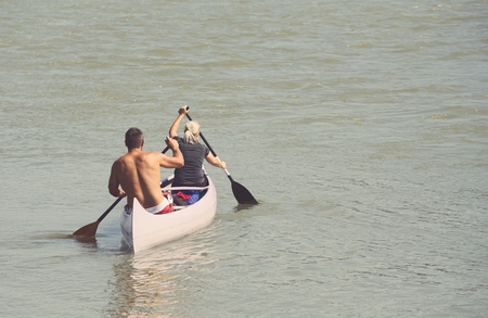 Canoeing on Danube River on a Sunny Summer Day Stock Photo