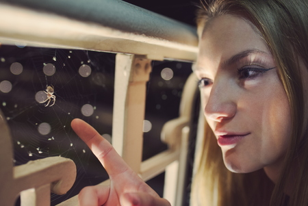 Teen Girl Night Portrait with Spider Web
