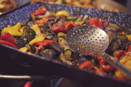 Grilled Vegetable Mix at Town Fair Food Stall Stock Photo