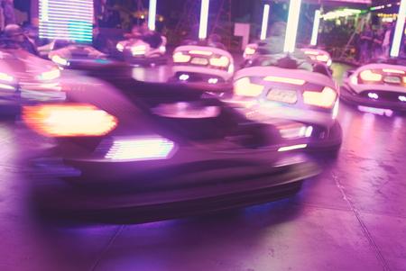 Fast Moving Bumper Cars at Town Fair