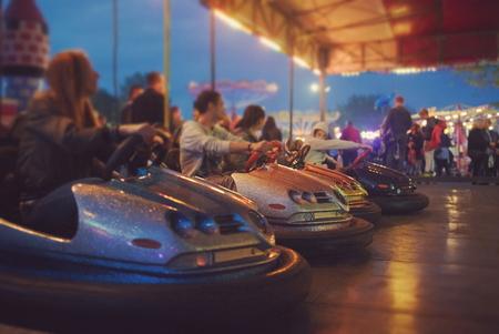 Bumper Cars Ready to Start at Town Fair