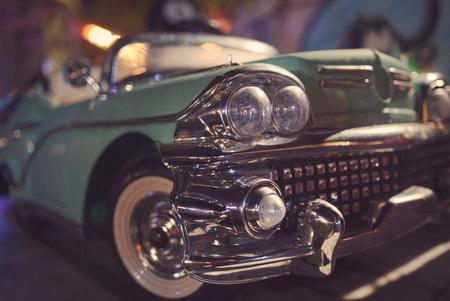 Cyan Oldsmobile Toy Closeup at Town Fair