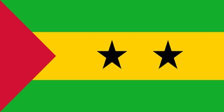 Official Large Flat Flag of Sao Tome and Principe Horizontal 版權商用圖片