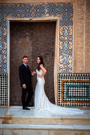 Beautiful romantic couple at a wedding in Alhambra. Alhambra wedding ceremony.