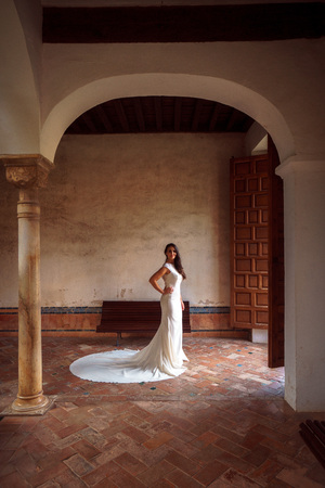 Beautiful bride in the ancient palace of the Alhambra