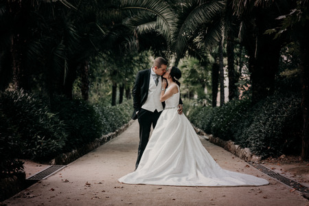 Groom and hug and kiss bride in palm grove. Wedding day for two. Lovely weeding couple Stock Photo