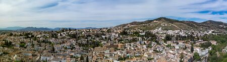 Panoramic view of Granada city from Alhambra castle