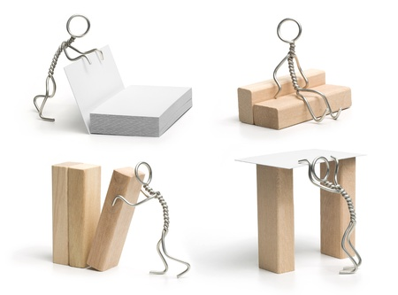 wireman: Wire man with the cards & wooden bricks. Over a white background. Set of 4. Stock Photo