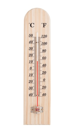 celsius: Thermometer isolated on white with paths. Stock Photo