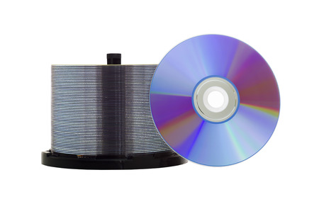 recordable: Blank recordable DVD discs on white Stock Photo