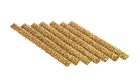 Seven Crunchy Bread Sticks With Sesame Isolated on White Stock Photo