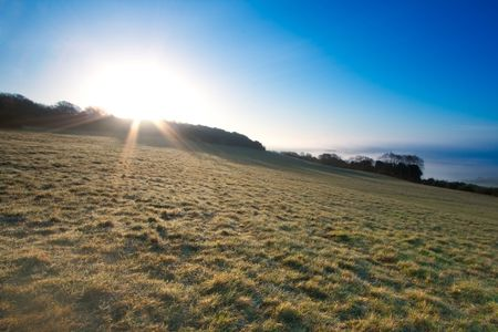 A sunburst over a field.  Taken just after dawn at Newlands Corner near Guildford in Surrey, UK.