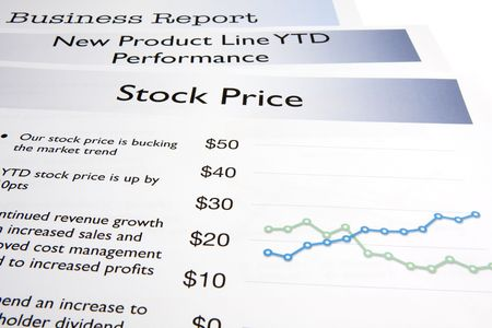 stock price: A business report showing a stock price report.