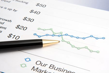 A pen rests on a business report containing details of the stock price.