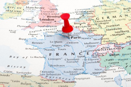map pin: A red map pin pointing at Paris, France