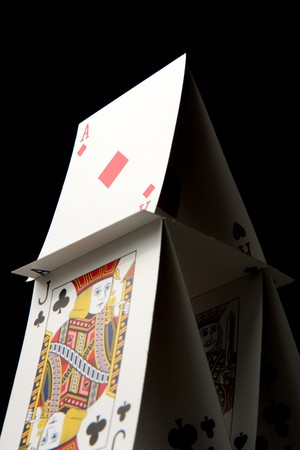 A house of cards on a black background. Stock Photo - 7111495