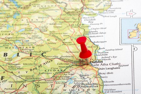 A red map pin pointing at Dublin, Ireland Stock Photo - 7127030