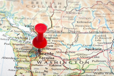 map pin: A red map pin pointing at Seattle, WA Stock Photo