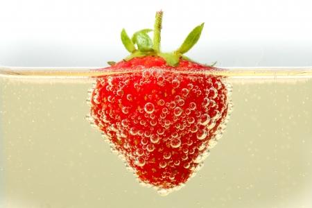 coupe de champagne: Un fraises fra�ches flottant dans un verre de champagne. Beaucoup de d�tails sur les bulles formant sur la peau de la fraise.