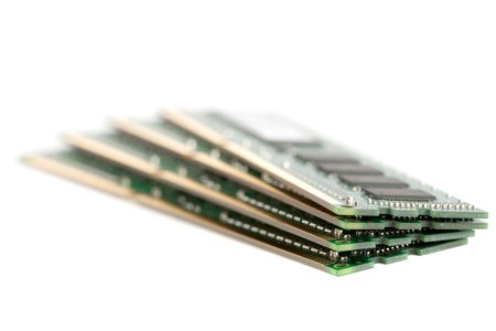 dimm: A pile of four DIMM memory modules.  Very shallow DOF.  Focus on the front. Stock Photo
