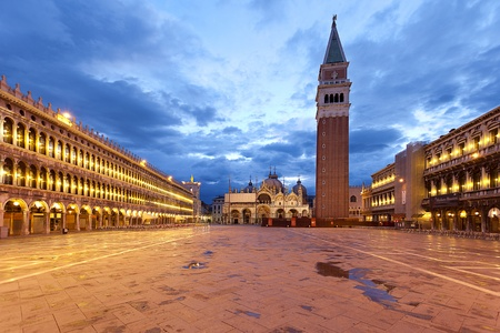 Piazza San Marco at dawn on a cloudy morning. photo
