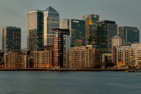 A classic view of Londons docklands area taken at dusk. photo