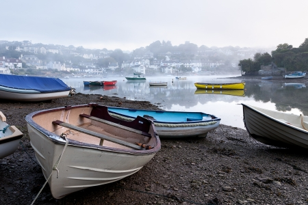 devon: The tide is on its way in on a misty morning in Devon.  Taken in Noss Mayo looking towards Newton Ferrers.