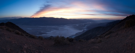 Moments after sunset looking down at Badwater Basin salt flats in Death Valley, CA.  Taken from Dante's View. photo