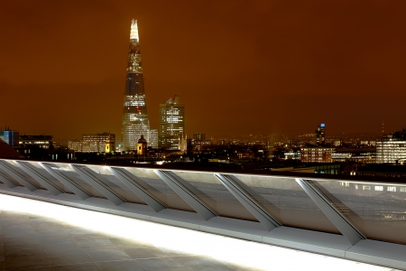 shard: The Shard tower block building in London at night  Stock Photo