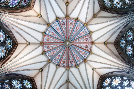 The ceiling of the Yorkminster Chapter House dating from the 1270's