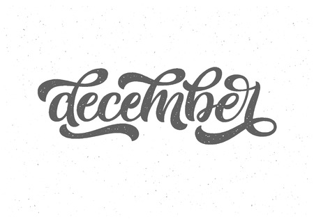 December lettering typography. Banner on textured background. Vector illustration. Typography for calendar or poster, invitation, greeting card. Illustration