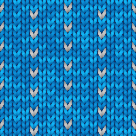 Knit christmas geometric ornament design with empty space for text. Xmas seamless pattern. Knitted winter blue color sweater texture. Vector illustration.
