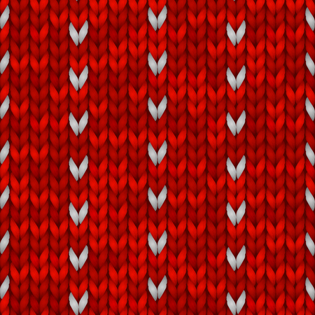 Winter Holiday Seamless Knitting Pattern with a Snowflakes. Vector illustration for backgrounds and wallpapers. Red knitted sweater design.