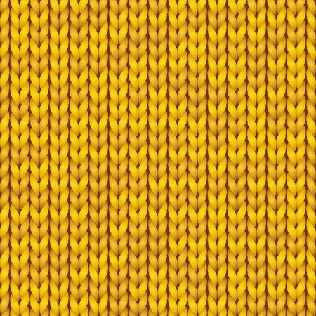 Knitting vector pattern. Vector knit texture for wallpapers and backgrounds. Knitted realistic seamless background of yellow color.