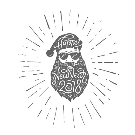 Bad Santa in glasses with typography Happy New Year 2018 on hat and beard. Vector illustration in retro style on white isolated background.