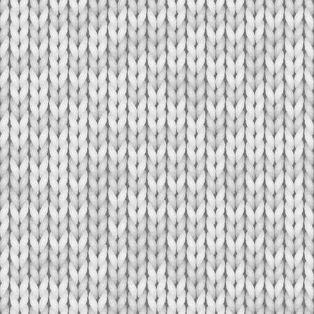Weißer Strick nahtlose Textur. Nahtloses Muster für Druckdesign, Hintergründe, Tapete. Farbe weiß, hellgrau.
