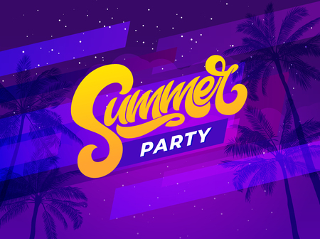 Summer party lettering on ultraviolet background with palm tree. Vector template for night club party. Vector typography for banner, poster, flyer, card, postcard, cover, brochure. 向量圖像