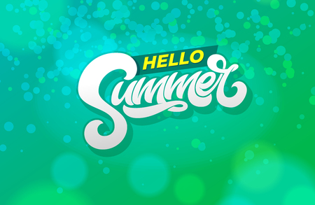 Hello summer typography on abstract green background. Modern brush calligraphy. Vector illustration for banner, poster, flyer, card, postcard, cover, brochure.