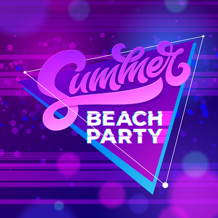 Summer beach party typography. Vector template for banners, cards, wallpapers, invitations, posters, flyers. Vector illustration for night club. Hand written letterind. Modern brush calligraphy.