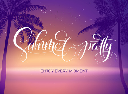 Summer party typography. Tropical poster with sumset and palm tree. Vector illustration for night club poster and invitation. Template for banner, poster, flyer, card, postcard, cover, brochure.