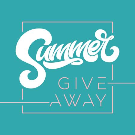 Giveaway banner for summer contests in social media. Vector template for banner, poster, flyer, ad, print design. Vector illustration. EPS10.