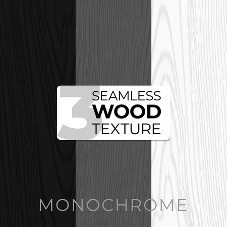 Set of monochrome vector seamless patterns. Wooden texture. Vector illustration for posters, backgrounds, print, wallpaper. Illustration of wooden boards.