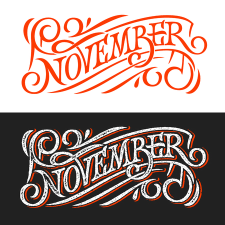 November vintage lettering on chalkboard. Lettering on white and black background. Vector template for banner, greeting card, poster, print design. Banner in retro style. Vector illustration. Illustration